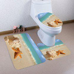 3Pcs Beach Starfish Pattern Bathroom Mats Set