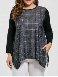 Plus Size Plaid Printed Asymmetric Long Sleeve T-shirt