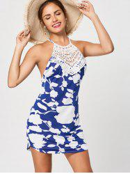 Backless  Floral Print Criss Cross Mini Dress - BLUE AND WHITE L
