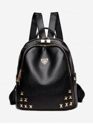 Metal Embellished Textured Leather Backpack