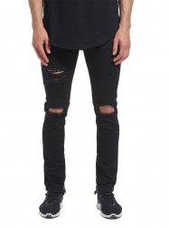 Ankle-zip Distressed Jeans