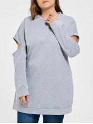 Plus Size Crew Neck Cut Out Tunic Sweatshirt