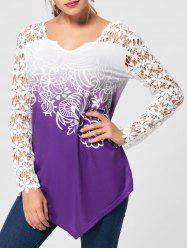 Ombre Lace Yoke Long Sleeve Blouse