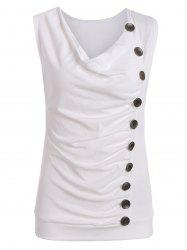 Casual Side Button Drape Neck Tank Top - Blanc XL