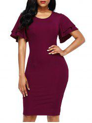Layered Sleeve Bodycon Back Slit Dress