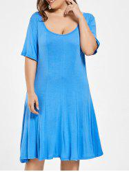 Plus Size Scoop Neck Half Sleeve Swing Dress