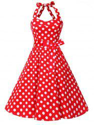 Vintage Polka Dot Backless Halter Pin Up Dress