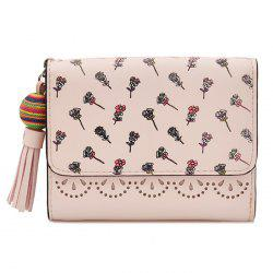 Tassel Floral Design Tri Fold Wallets - ROSE PÂLE