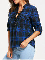 Lace Up Front Long Sleeve Tartan Blouse