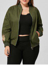 Floral Embroidered Plus Size Jacket - ARMY GREEN XL