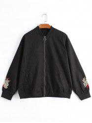 Floral Embroidered Plus Size Jacket -