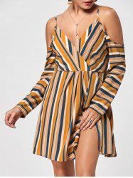 Striped Side Slit Cold Shoulder Dress