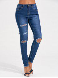 Distressed Skinny Cut Out Jeans - BLUE M