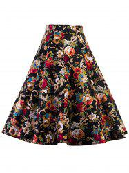 High Waist Floral Midi Pleated Skirt -