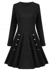 Buttoned A Line Long Sleeves Dress -