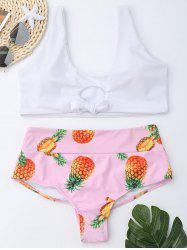 Pineapple High Waist Bralette Bikini Set - WHITE S