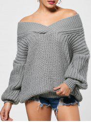 Chunky Drop Shoulder Surplice Sweater -