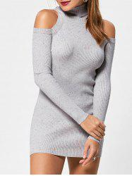 Cold Shoulder Turtleneck Mini Tight Jumper Dress -