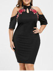 Plus Size Embroidered Cold Shoulder Keyhole Dress
