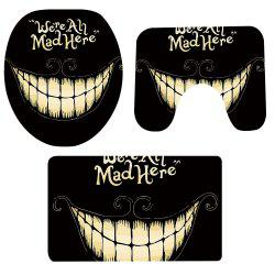 Tapis Toilette 3 Pcs Halloween Motif Dents Antidérapant -