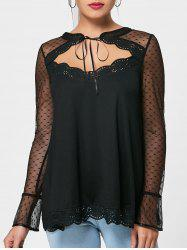 Cut Out Mesh Panel Sheer Blouse -