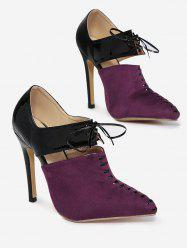Two Tone Tie Up Pumps -