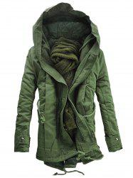 Double Zip Up Hooded Padded Parka Coat -