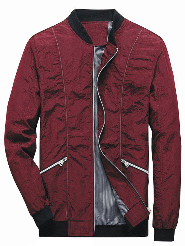 Cheap Pleated Zip Up Bomber Jacket