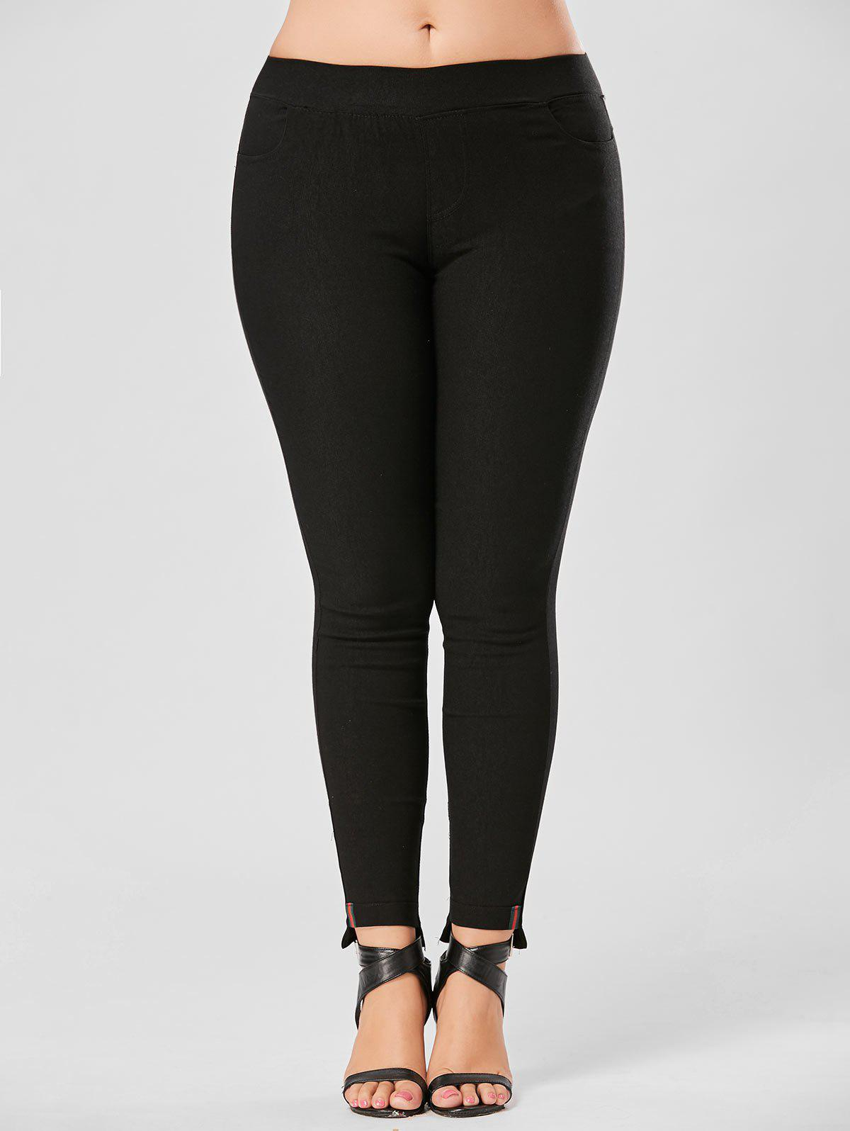 Elastic Waist Plus Size Pencil PantsWOMEN<br><br>Size: 6XL; Color: BLACK; Style: Casual; Length: Normal; Material: Cotton,Polyester; Fit Type: Regular; Waist Type: Mid; Closure Type: Elastic Waist; Pattern Type: Solid; Pant Style: Pencil Pants; Weight: 0.3500kg; Package Contents: 1 x Pants;