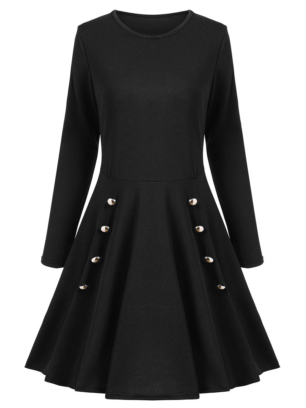 Store Buttoned A Line Long Sleeves Dress