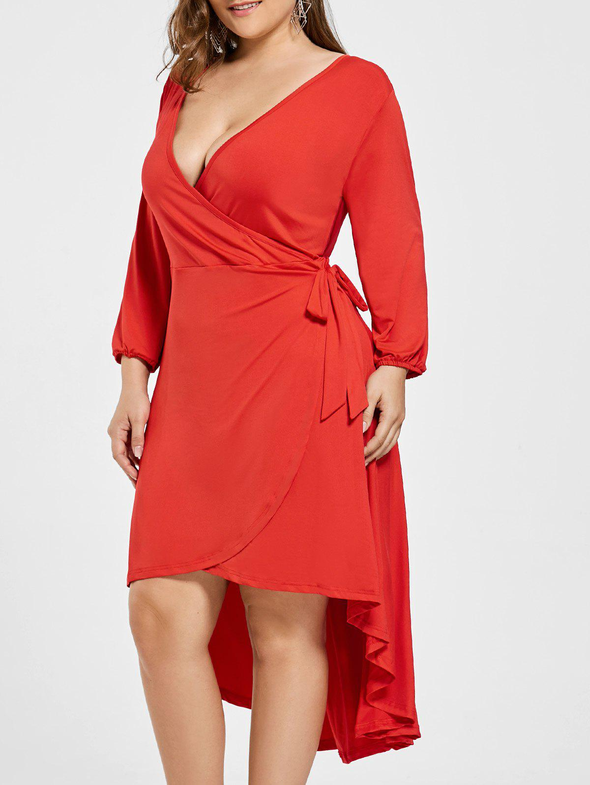 Affordable Plus Size High Low Wrap Dress