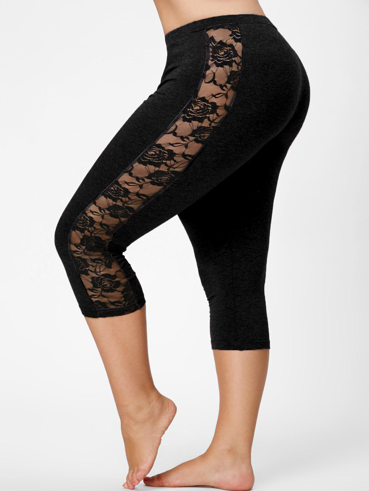 Mesh Panel Lace Plus Size Cropped LeggingsWOMEN<br><br>Size: 2XL; Color: BLACK; Style: Active; Length: Capri; Material: Polyester,Spandex; Fit Type: Skinny; Waist Type: Mid; Closure Type: Elastic Waist; Pattern Type: Solid; Pant Style: Pencil Pants; Weight: 0.2350kg; Package Contents: 1 x Leggings;