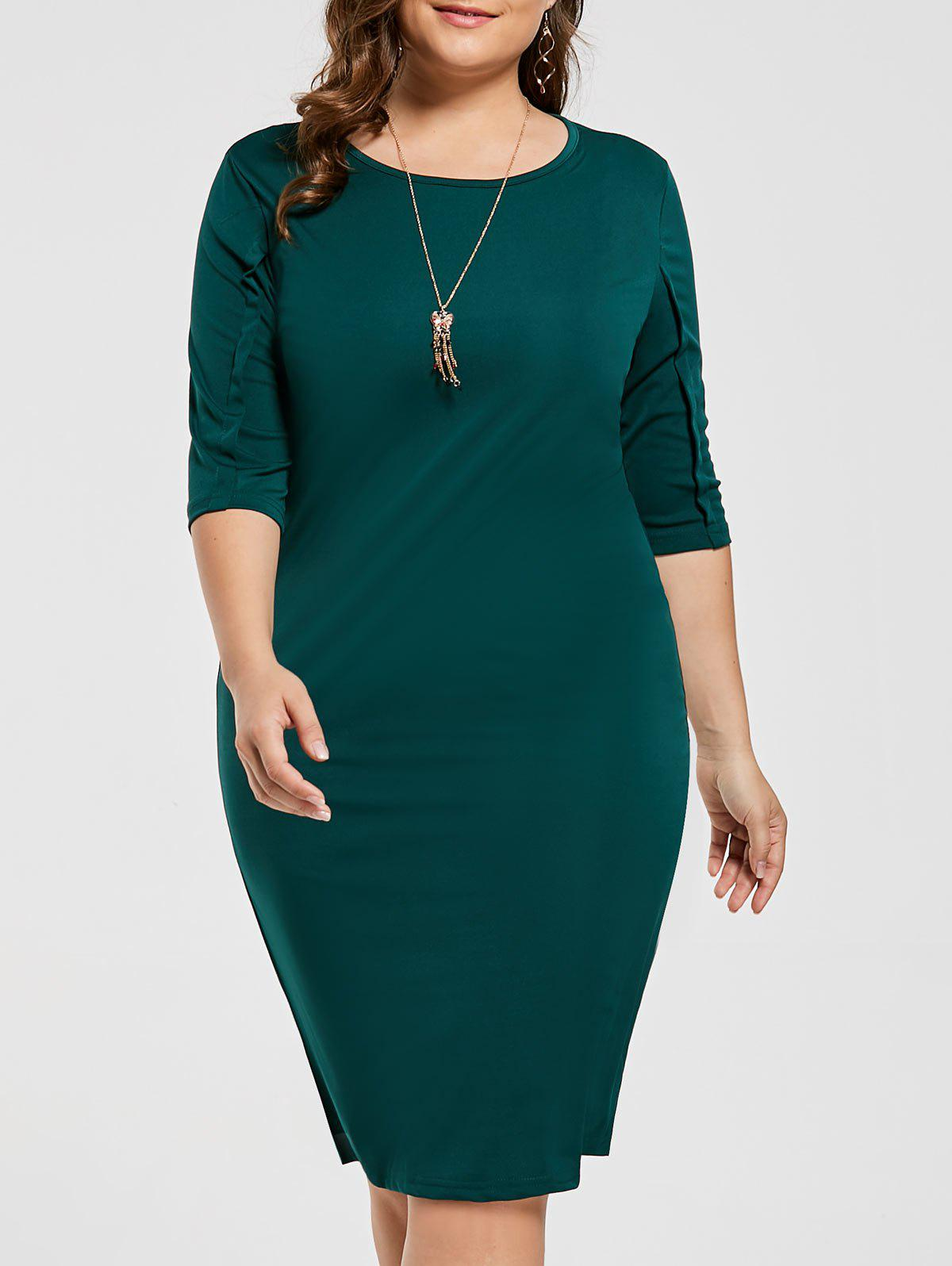Knee Length Plus Size Sheath DressWOMEN<br><br>Size: 3XL; Color: DEEP GREEN; Style: Casual; Material: Cotton Blend,Polyester; Silhouette: Sheath; Dresses Length: Knee-Length; Neckline: Scoop Neck; Sleeve Length: Half Sleeves; Pattern Type: Solid Color; With Belt: No; Season: Fall; Weight: 0.3600kg; Package Contents: 1 x Dress;