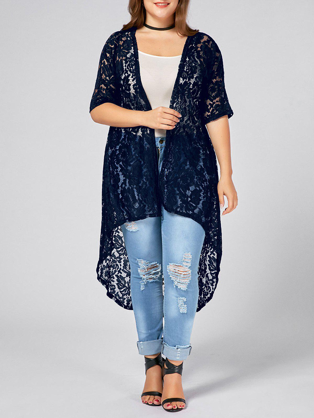 Plus Size  Long Open Front Lace Crochet CardiganWOMEN<br><br>Size: 5XL; Color: PURPLISH BLUE; Clothes Type: Others; Material: Cotton Blends,Polyester; Type: Asymmetric Length; Shirt Length: X-Long; Sleeve Length: Three Quarter; Collar: Collarless; Pattern Type: Solid; Embellishment: Lace; Style: Fashion; Season: Fall,Spring; Weight: 0.2700kg; Package Contents: 1 x Cardigan;