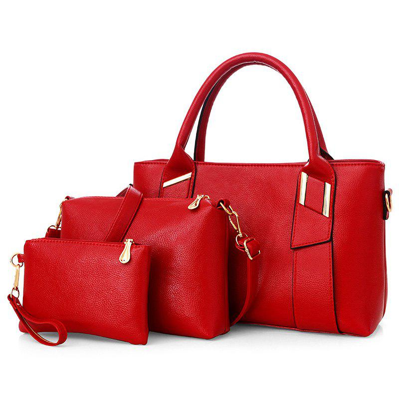 3 Pieces Faux Leather Handbag SetSHOES &amp; BAGS<br><br>Color: RED; Handbag Type: Totes; Style: Fashion; Gender: For Women; Pattern Type: Solid; Handbag Size: Medium(30-50cm); Closure Type: Zipper; Interior: Cell Phone Pocket,Interior Zipper Pocket; Occasion: Versatile; Main Material: PU; Weight: 1.2000kg; Size(CM)(L*W*H): 36*12*23; Package Contents: 1 x Handbag, 1 x Crossbody Bag, 1 x Clutch Bag;