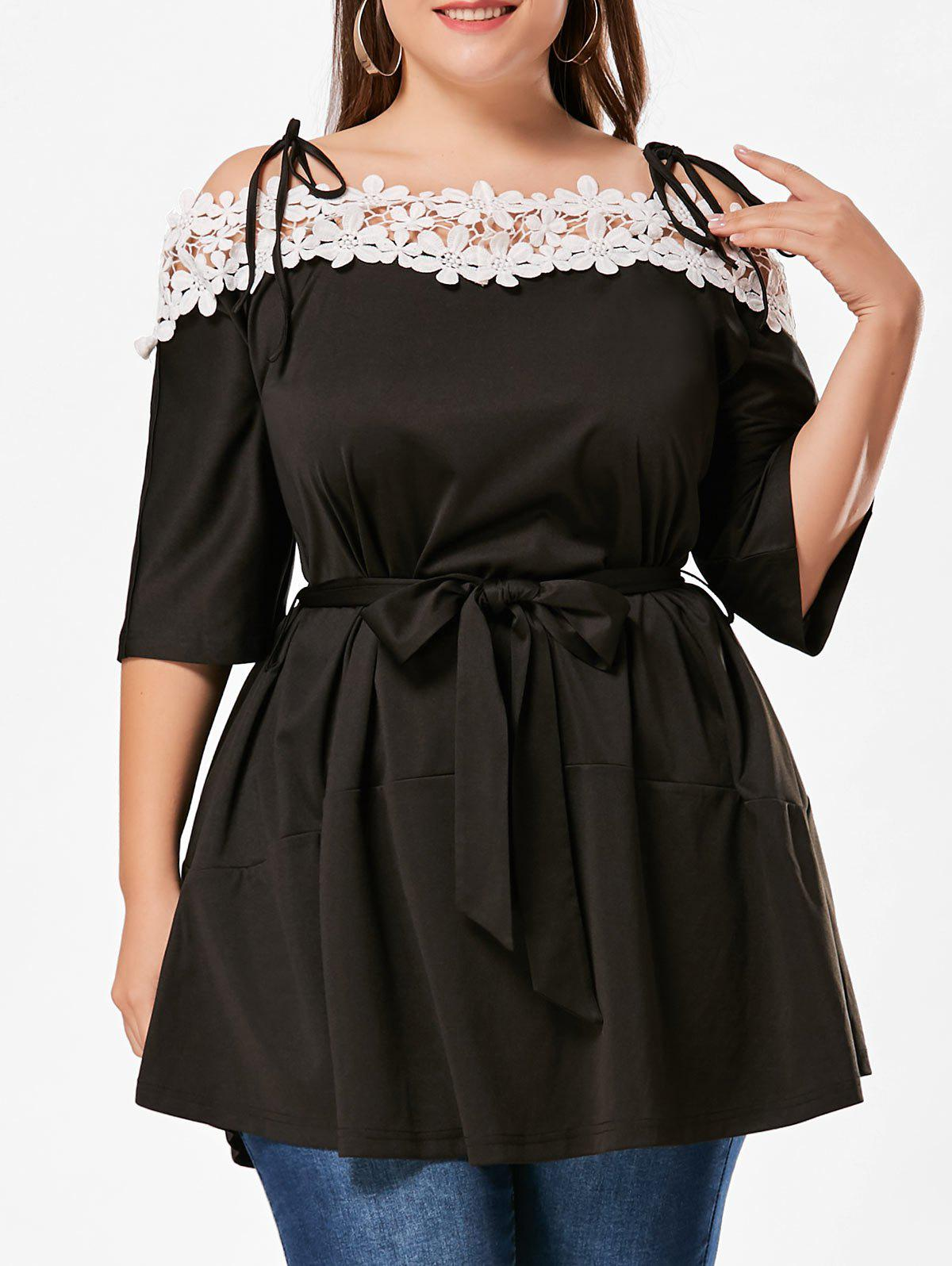 Floral Applique Cold Shoulder Plus Size DressWOMEN<br><br>Size: 3XL; Color: BLACK; Style: Casual; Material: Polyester,Spandex; Silhouette: A-Line; Dresses Length: Mini; Neckline: Spaghetti Strap; Sleeve Length: Half Sleeves; Embellishment: Appliques,Hollow Out,Sashes; Pattern Type: Others; With Belt: Yes; Season: Summer; Weight: 0.4110kg; Package Contents: 1 x Dress  1 x Belt;