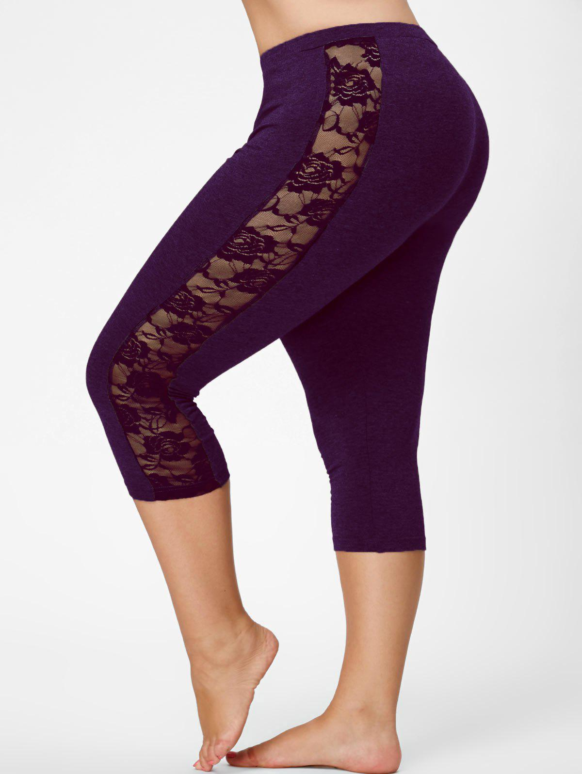 Mesh Panel Lace Plus Size Cropped LeggingsWOMEN<br><br>Size: 4XL; Color: DEEP PURPLE; Style: Active; Length: Capri; Material: Polyester,Spandex; Fit Type: Skinny; Waist Type: Mid; Closure Type: Elastic Waist; Pattern Type: Solid; Pant Style: Pencil Pants; Weight: 0.2350kg; Package Contents: 1 x Leggings;