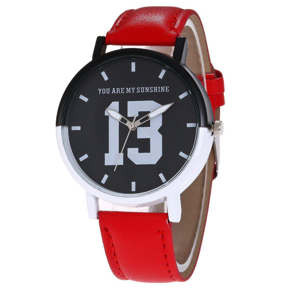 Fancy Number 13 Face Faux Leather Strap Watch