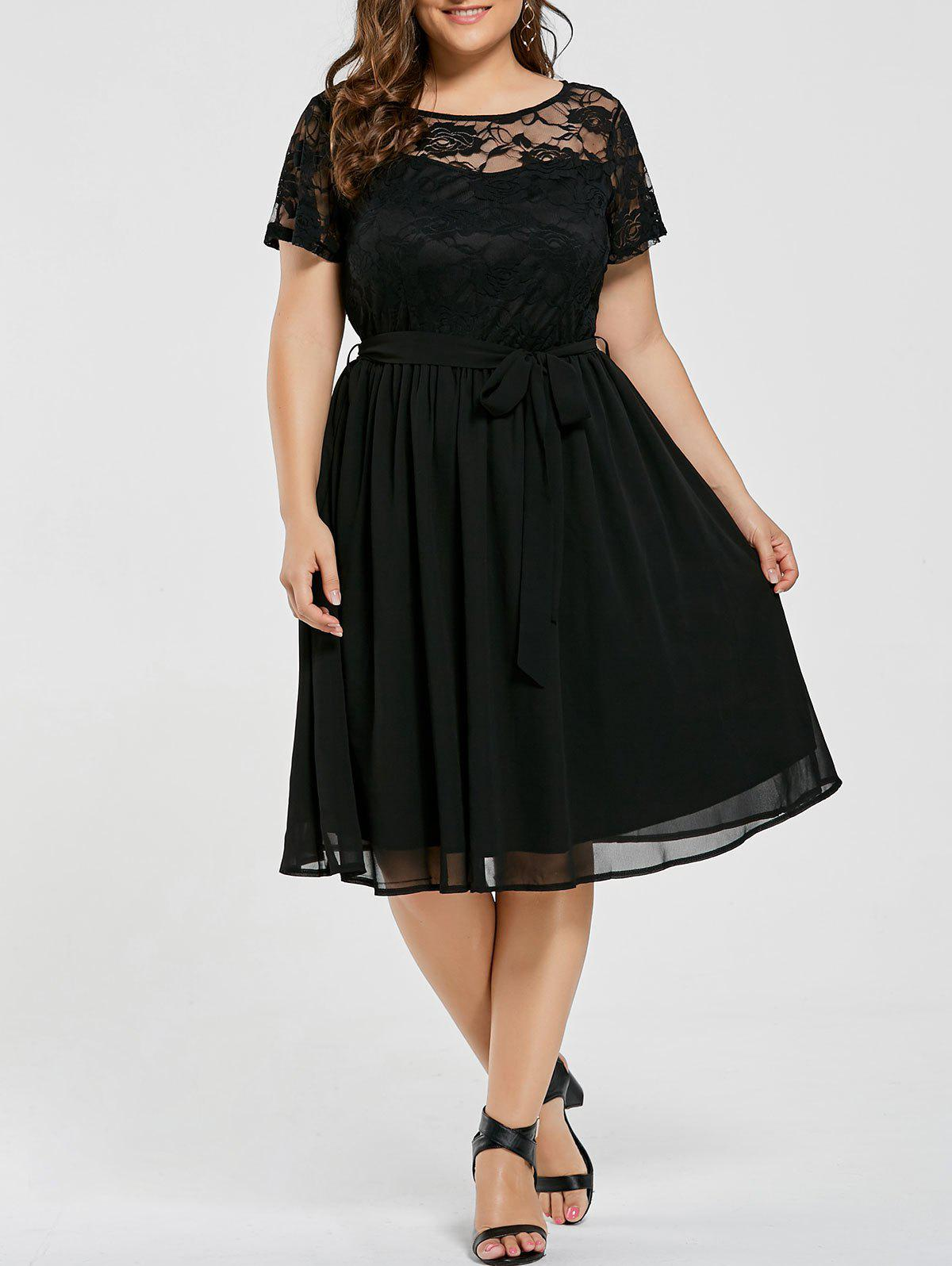 Plus Size Overlay Lace Panel DressWOMEN<br><br>Size: 9XL; Color: BLACK; Style: Casual; Material: Cotton,Polyester; Silhouette: A-Line; Dresses Length: Knee-Length; Neckline: Round Collar; Sleeve Length: Short Sleeves; Embellishment: Lace; Pattern Type: Solid; With Belt: No; Season: Fall,Summer; Weight: 0.3500kg; Package Contents: 1 x Dress;