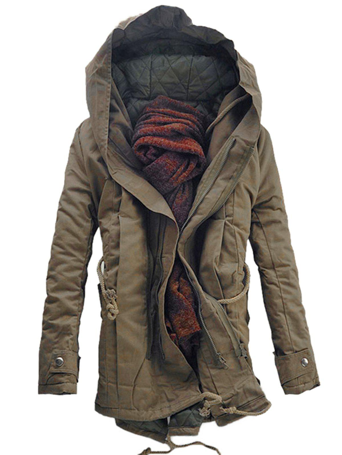 Double Zip Up Hooded Padded Parka CoatMEN<br><br>Size: XL; Color: DARK KHAKI; Clothes Type: Parkas; Style: Fashion; Material: Cotton,Spandex; Collar: Hooded; Shirt Length: Long; Sleeve Length: Long Sleeves; Season: Winter; Weight: 1.3200kg; Package Contents: 1 x Coat;
