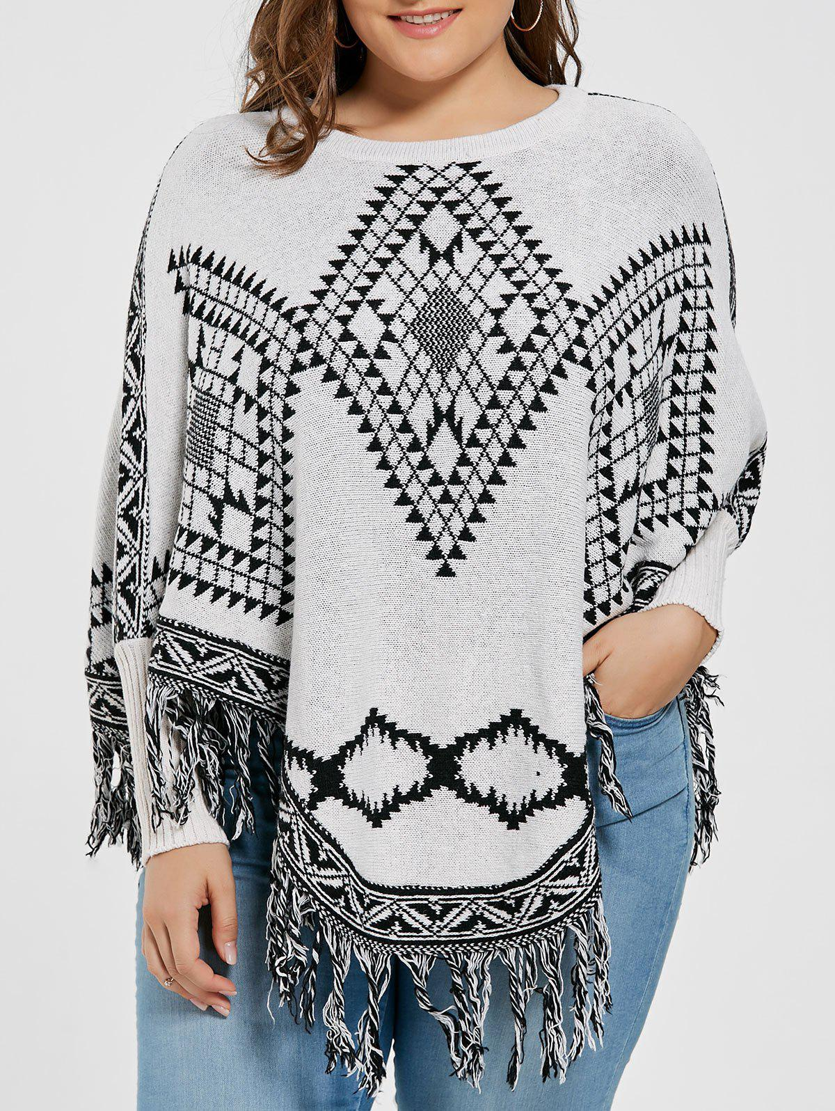 Geometric Fringed Plus Size Poncho SweaterWOMEN<br><br>Size: ONE SIZE; Color: LIGHT GREY; Type: Pullovers; Material: Polyester,Spandex; Sleeve Length: Full; Collar: Crew Neck; Style: Fashion; Season: Fall; Pattern Type: Geometric; Weight: 0.5500kg; Package Contents: 1 x Sweater;