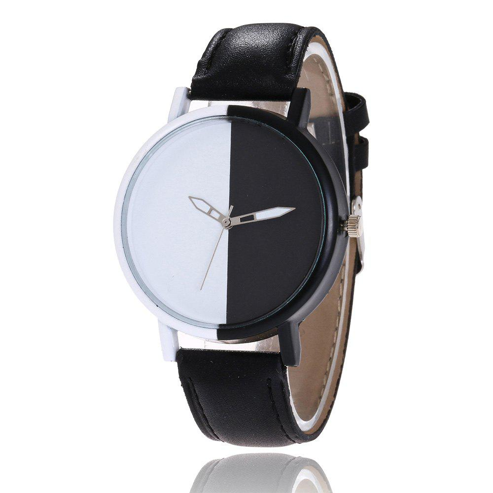 Color Block Face Faux Leather Strap WatchJEWELRY<br><br>Color: BLACK; Gender: For Women; Style: Casual; Type: Quartz watch; Index Dial: Analog; Case material: Alloy; Band material: PU Leather; Movement: Quartz; Dial Shape: Round; Water-Proof: No; Case Thickness(MM): 10mm; Dial Diameter: 4cm; Band Length(CM): 24cm; Band Width(CM): 2cm; Package Contents: 1 x Watch;