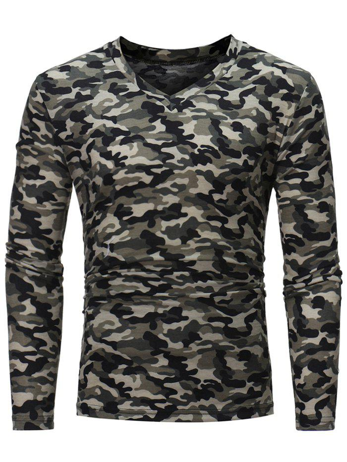 Black m camouflage pattern long sleeve t shirt for Long sleeve shirt pattern
