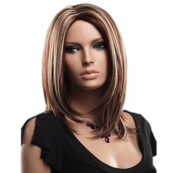 Medium Center Parting Straight Bob Highlight Synthetic WigHAIR<br><br>Color: COLORMIX; Type: Full Wigs; Cap Construction: Capless; Style: Straight; Material: Synthetic Hair; Bang Type: Middle; Length: Medium; Length Size(CM): 42; Weight: 0.2150kg; Package Contents: 1 x Wig;