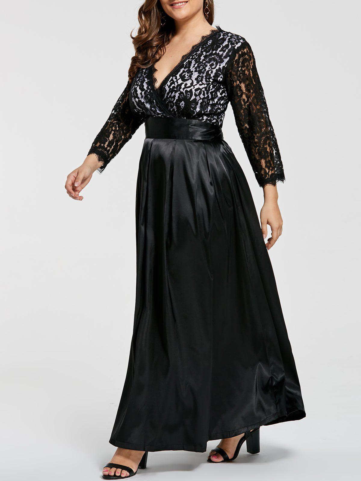 Lace Sleeve V Neck Plus Size Evening DressWOMEN<br><br>Size: 7XL; Color: BLACK; Style: Club; Material: Polyester; Silhouette: A-Line; Dresses Length: Ankle-Length; Neckline: V-Neck; Sleeve Length: 3/4 Length Sleeves; Waist: High Waisted; Embellishment: Lace; Pattern Type: Solid Color; With Belt: No; Season: Fall; Weight: 0.5800kg; Package Contents: 1 x Dress;