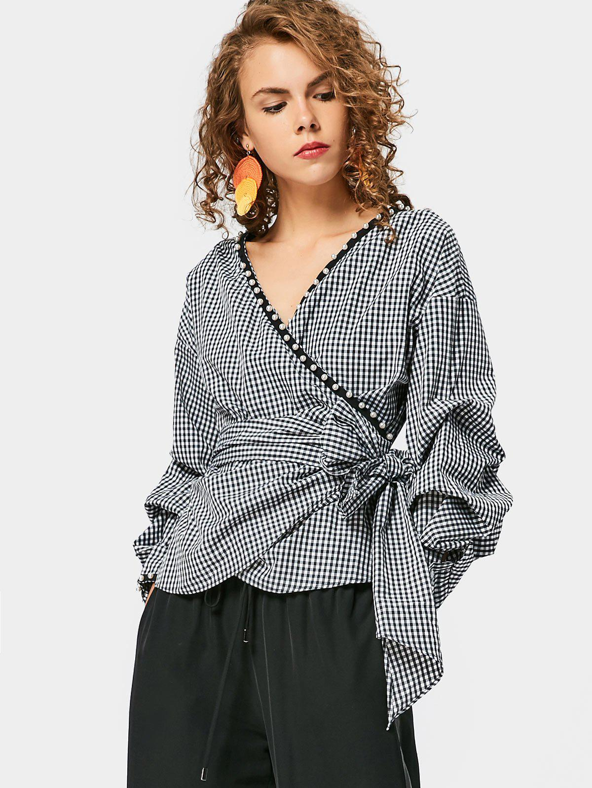 Wrap Checked Faux Pearl BlouseWOMEN<br><br>Size: M; Color: CHECKED; Material: Cotton,Polyester; Shirt Length: Regular; Sleeve Length: Full; Collar: V-Neck; Pattern Type: Plaid; Embellishment: Embroidery; Style: Fashion; Seasons: Autumn,Spring; Weight: 0.3450kg; Package Contents: 1 x Blouse; Occasion: Casual;