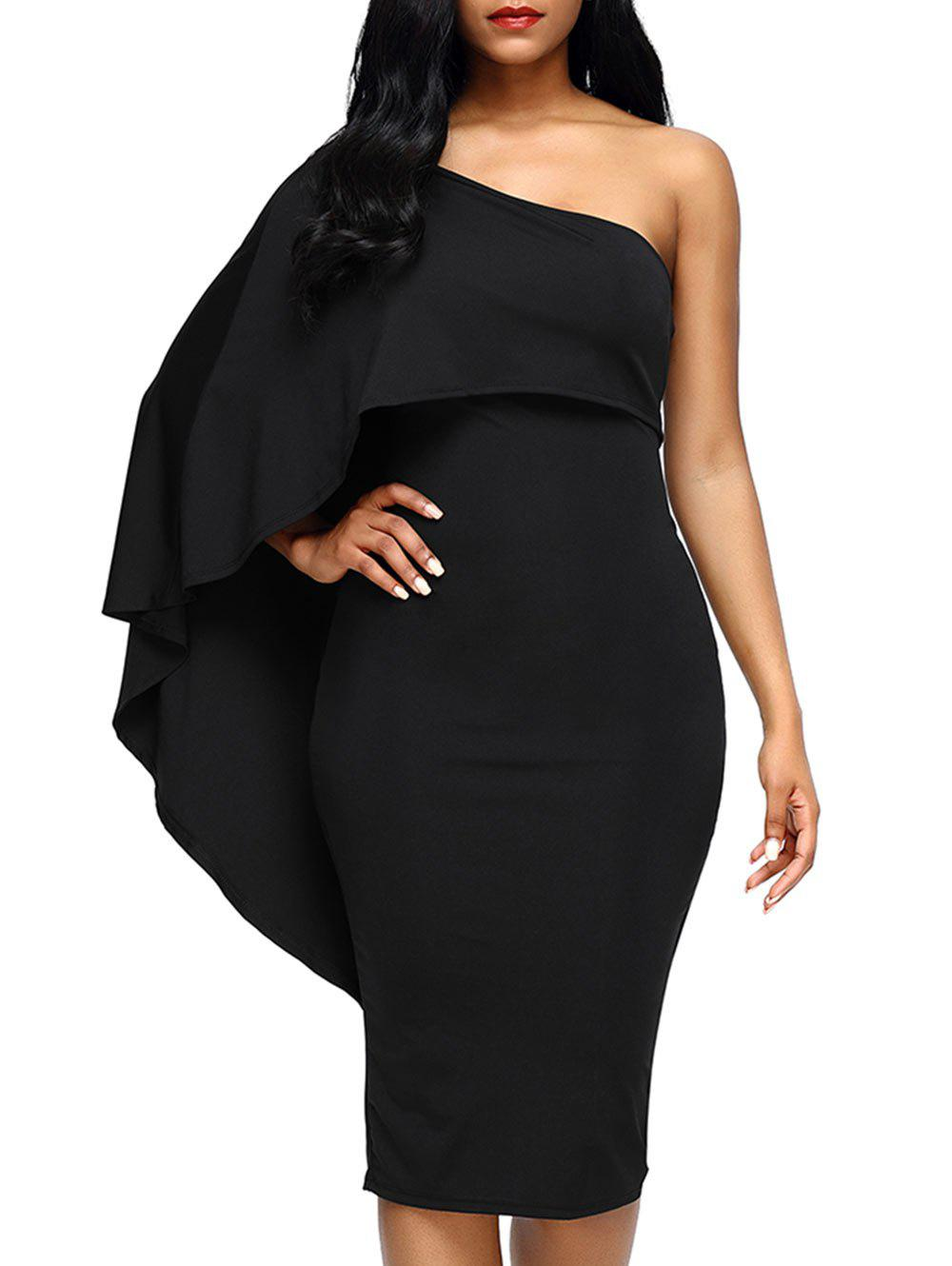 Unique Fitted Midi One Shoulder Asymmetrical Bodycon Dress