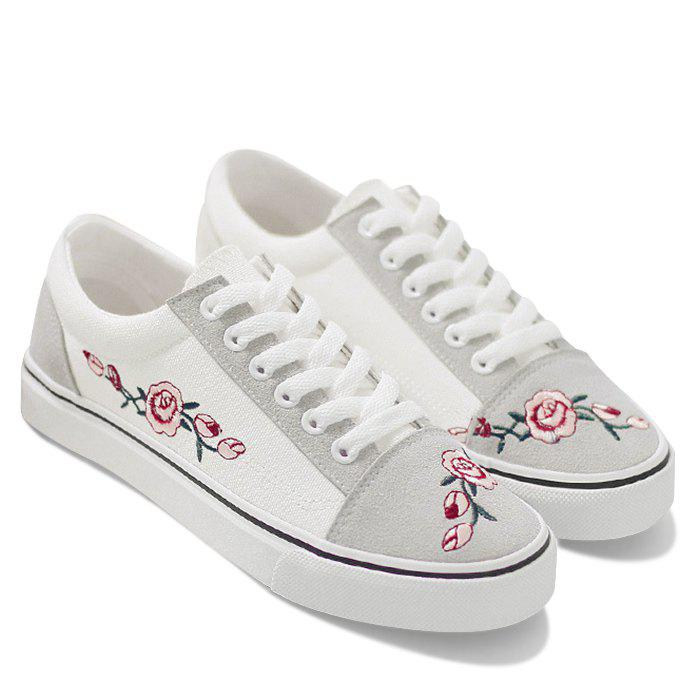 Online Flower Embroidered Canvas Shoes