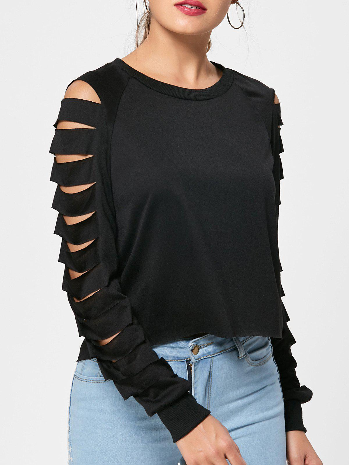 Fashion High Low Hollow Out Long Sleeves Top