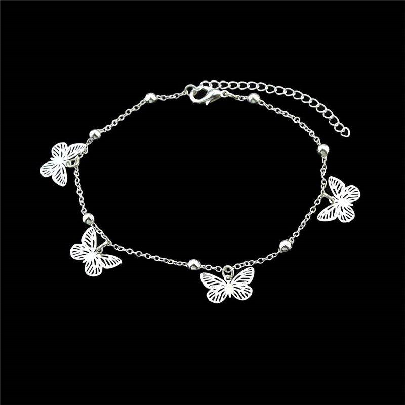 Alloy Butterfly Beads Charm AnkletJEWELRY<br><br>Color: SILVER; Gender: For Women; Style: Trendy; Shape/Pattern: Insect; Length: 28CM; Weight: 0.0300kg; Package Contents: 1 x Anklet;